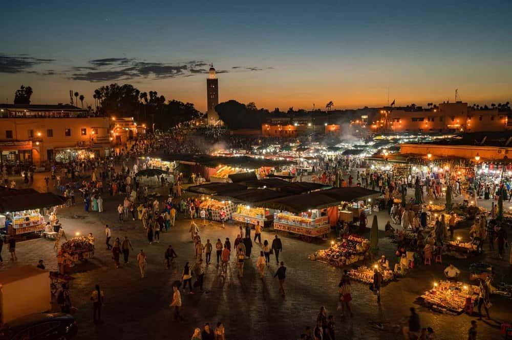 Djamaa lafna, marrakech, morocco, sunset, tour